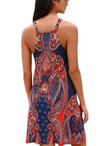 Image of Navy Coral Bohemian Print Racerback Dress