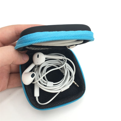 Portable Zipper Hard Headphones Case PU Leather Earphone Storage Bag