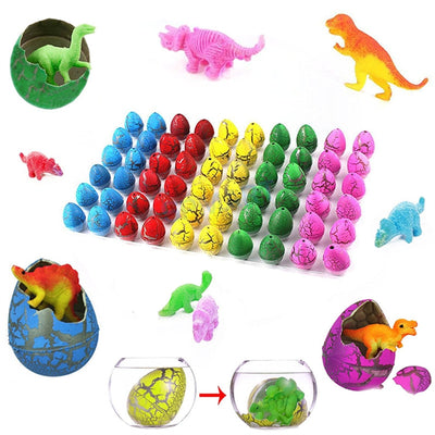 Novelty Colorful Eggs Toys Hatching Dinosaur Grow Easter Dino Egg 60PCS