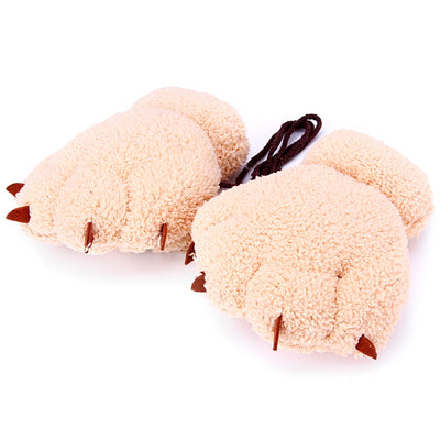1 Pair Christmas Gift Thick Warm Bear Claw Fingerless Gloves with Rope Coral Fleece