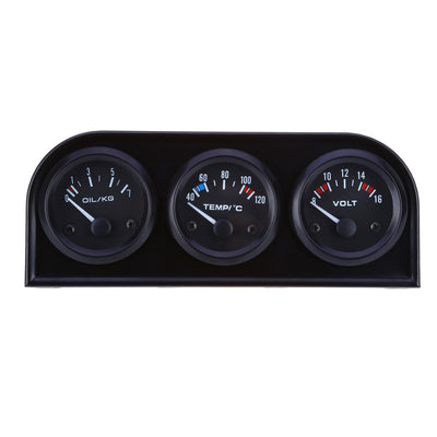 B734 52MM 3 in1 Car Accuracy Auto Gauge Voltmeter Water Temperature Oil Pressure Sensor Triple Kit