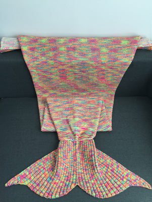 Warmth Acrylic Knitting Colorful Mermaid Tail Design Blanket