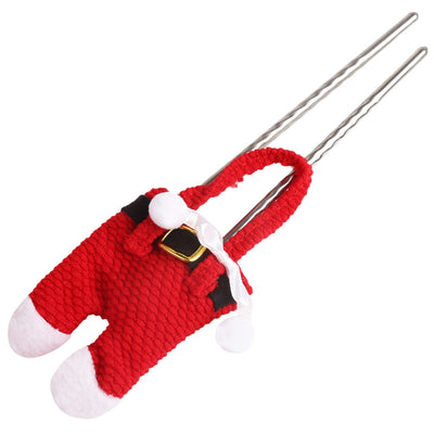 6 Pairs Christmas Santa Decoration Suit Pants Cutlery Fork Spoon Holder Bags