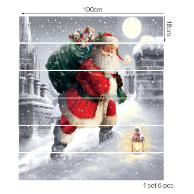 Santa Claus Walking In the Snow Printed Stair Stickers