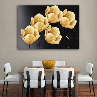 E - HOME Decorative Wall Clock Tulip Canvas Painting Artwork for Home Office