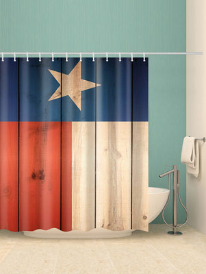 Five-pointed Star Wood Planks Print Shower Curtain