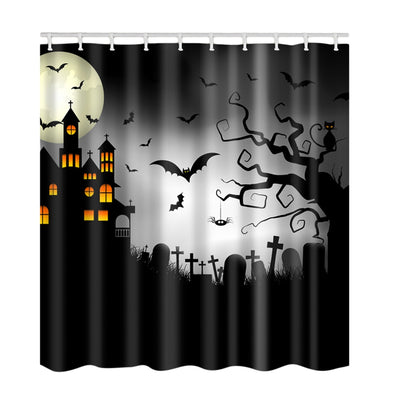 Halloween Castle Cemetery Print Waterproof Fabric Shower Curtain
