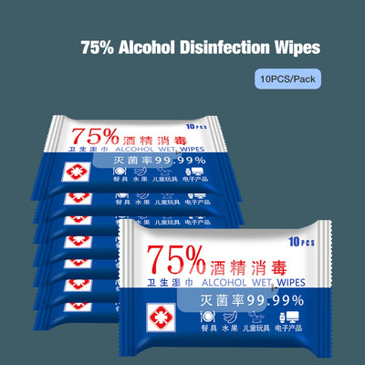 75% Alcohol Hand Wet Wipes Personal Disinfection Cleaning Cloths 10PCS/Pack