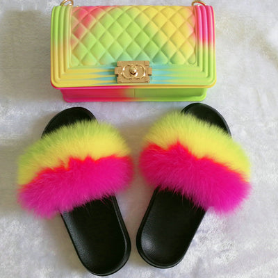 Rainbow Tomorrow Slippers and Bags SET - Girlsintrendy, Girls In Trendy