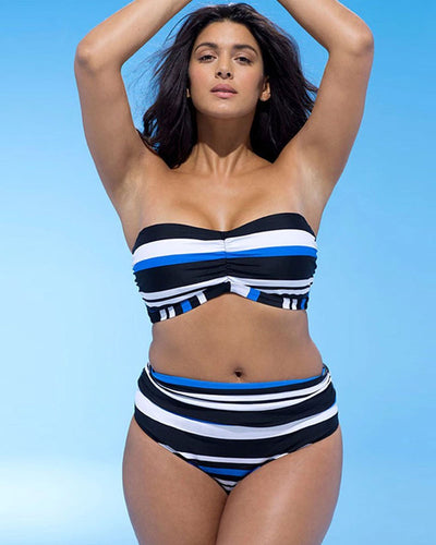 Plus Size Natutical Striped High Waisted Swimsuit - Girlsintrendy, Girls In Trendy