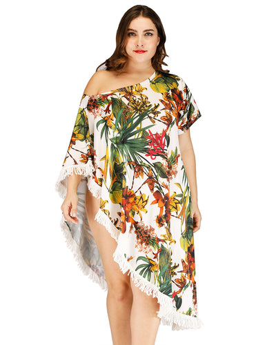 Plant Printed Tassel Plus Size Cover up - Girlsintrendy, Girls In Trendy