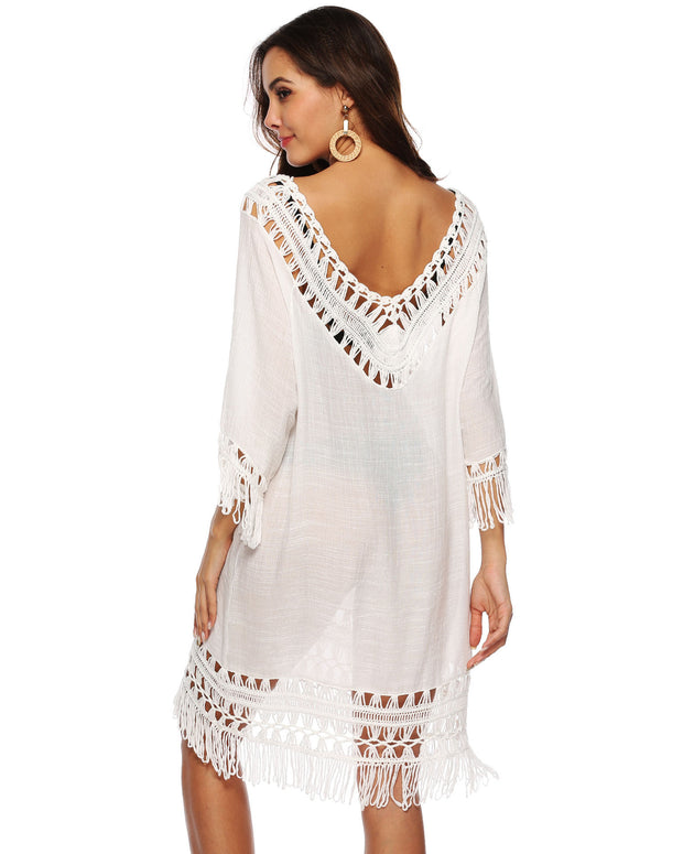Deep V Hollow Out Tassel  Cover up - Girlsintrendy, Girls In Trendy