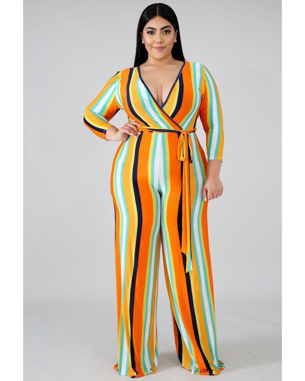 Striped Casual Wide Legs Jumpsuit - Girlsintrendy, Girls In Trendy