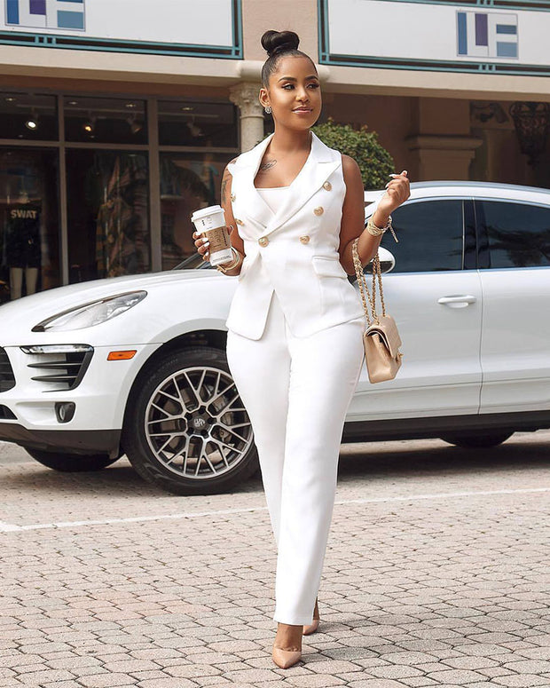 Late Autumn White Suit Set - Girlsintrendy, Girls In Trendy