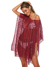 Lace V Neck Floral Crochet Cover up - Girlsintrendy, Girls In Trendy