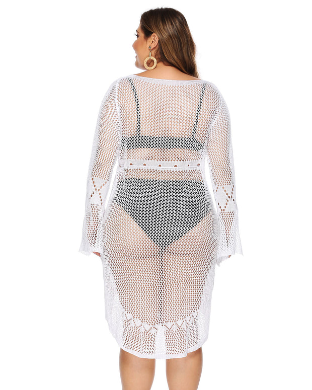 Sexy Hollow Out Slim Plus Size Cover up - Girlsintrendy, Girls In Trendy