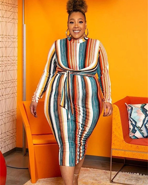 Rainbow Thinking Midi Dress (S ~ 5XL) - Girlsintrendy, Girls In Trendy