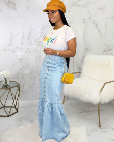 Flame In Your Heart Denim Skirt - Girlsintrendy, Girls In Trendy