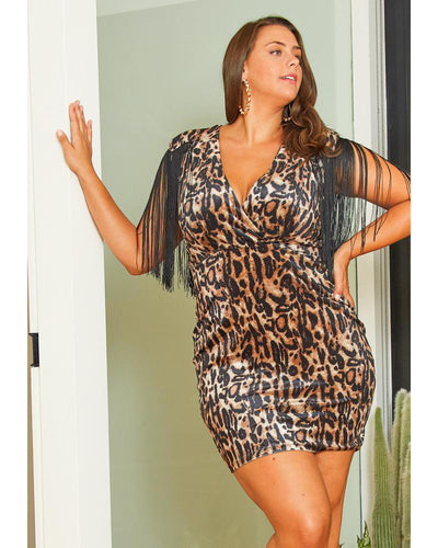 Leopard Letter Plus Size Mini Dress - Girlsintrendy, Girls In Trendy