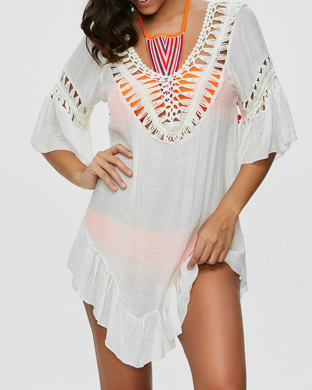 Hollow-out V Neck Backless Cover up - Girlsintrendy, Girls In Trendy