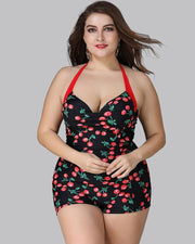 Plus Size Cherry One Piece Swimsuit - Girlsintrendy, Girls In Trendy