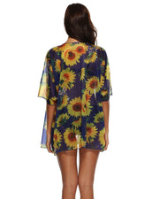 Sunflower Printed Chiffon Cover up - Girlsintrendy, Girls In Trendy