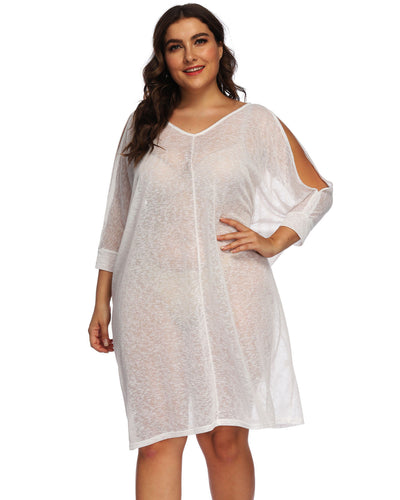 V Neck Knitted Plus Size Cover up - Girlsintrendy, Girls In Trendy