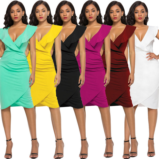 Sexy V-neck Ruffled Sleeveless Bodycon Dress - Girlsintrendy, Girls In Trendy