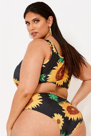 Sunflowers Print Tie Knot Front Bathing Suit - Girlsintrendy, Girls In Trendy