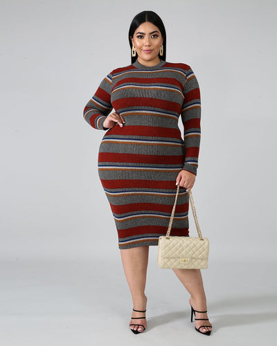 Stripe Sweater BodyCon Plus Dress - Girlsintrendy, Girls In Trendy