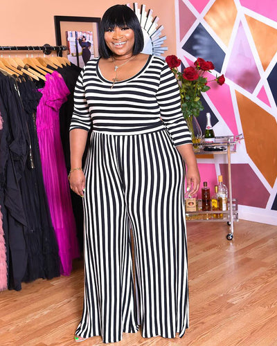 Black And White Stripe Jumpsuit - Girlsintrendy, Girls In Trendy