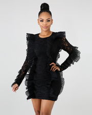 Black Lace Ruffle Detail Mini Dress - Girlsintrendy, Girls In Trendy