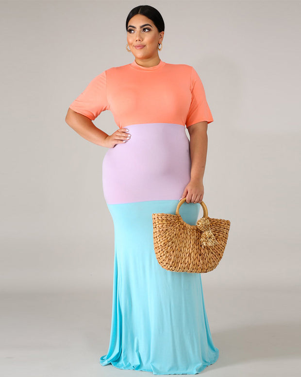 CURVY SUMMER BLOCK MAXI DRESS - Girlsintrendy, Girls In Trendy