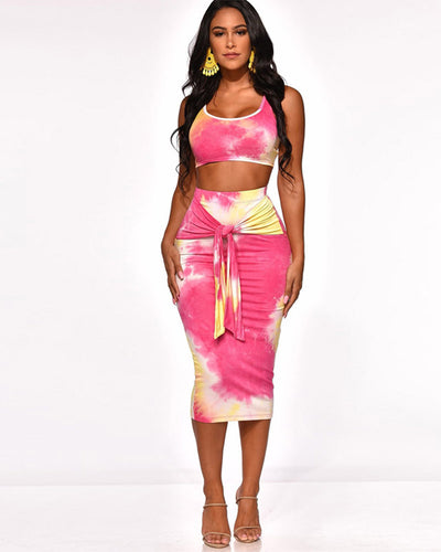 CURVY TIED IN KNOT SKIRT SET - Girlsintrendy, Girls In Trendy
