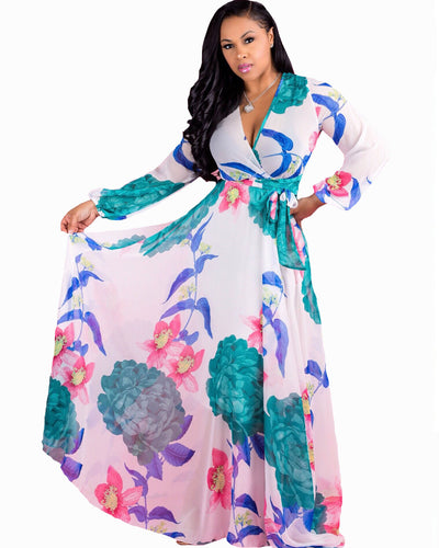 Chiffon Print A-line Bohemia Plus Size Maxi Dress - Girlsintrendy, Girls In Trendy