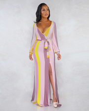 Colorblock Belted Maxi Dress - Girlsintrendy, Girls In Trendy