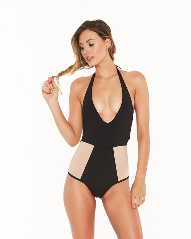 Colorblock Halter Plunged Neck One Piece Swimsuit - Girlsintrendy, Girls In Trendy