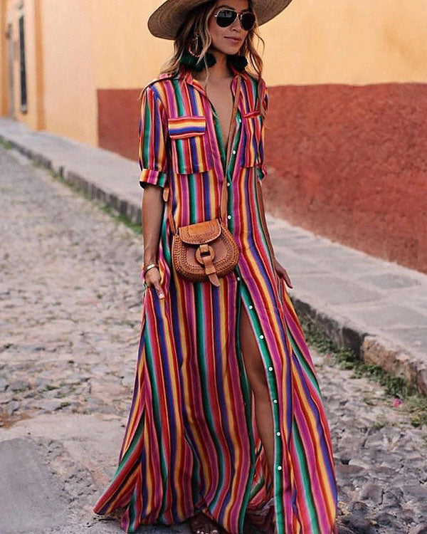 Colorful Striped Print Bohemian Shirt Dress - Girlsintrendy, Girls In Trendy