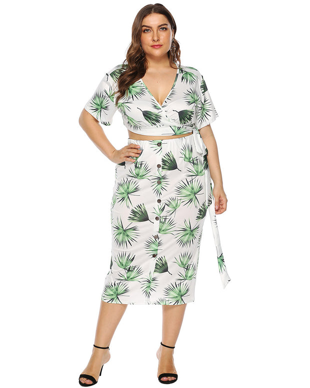 Curvy Tie Knot Leaves Printed Skirt Set - Girlsintrendy, Girls In Trendy