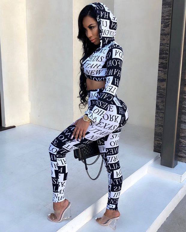Fashion Letter Print Hooded Matching Set - Girlsintrendy, Girls In Trendy