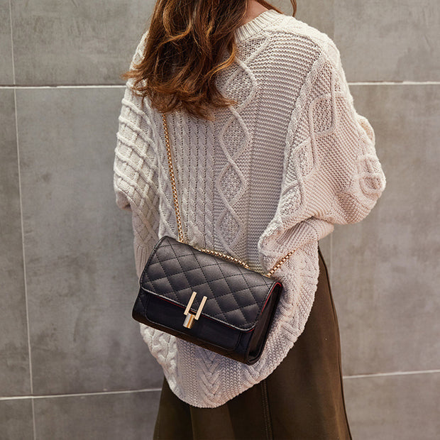 Fashion Rhombic Embroidery Line Chain Messenger Bag - Girlsintrendy, Girls In Trendy