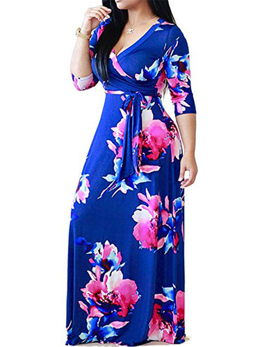 Floral Print V-neck High Waist Slim Dress - Girlsintrendy, Girls In Trendy