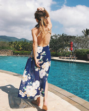 Lace Floral Print Beach Dress - Girlsintrendy, Girls In Trendy