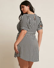 Minimalist Stripe Belt Dress - Girlsintrendy, Girls In Trendy