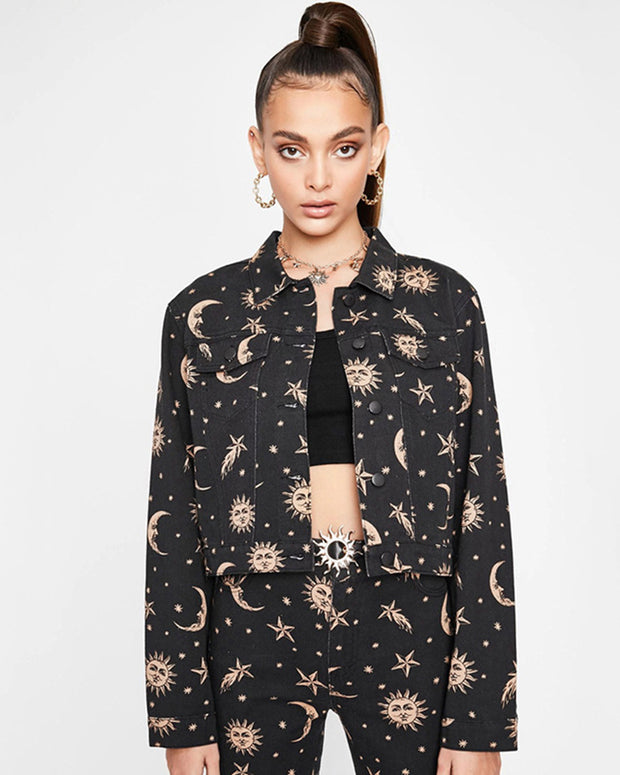 Moon And Star Jacket - Girlsintrendy, Girls In Trendy