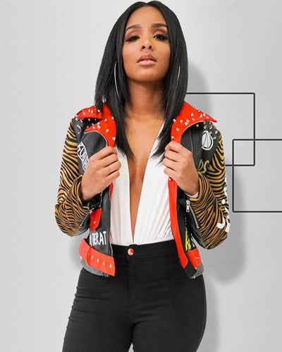 Moto Graffiti Jacket - Girlsintrendy, Girls In Trendy
