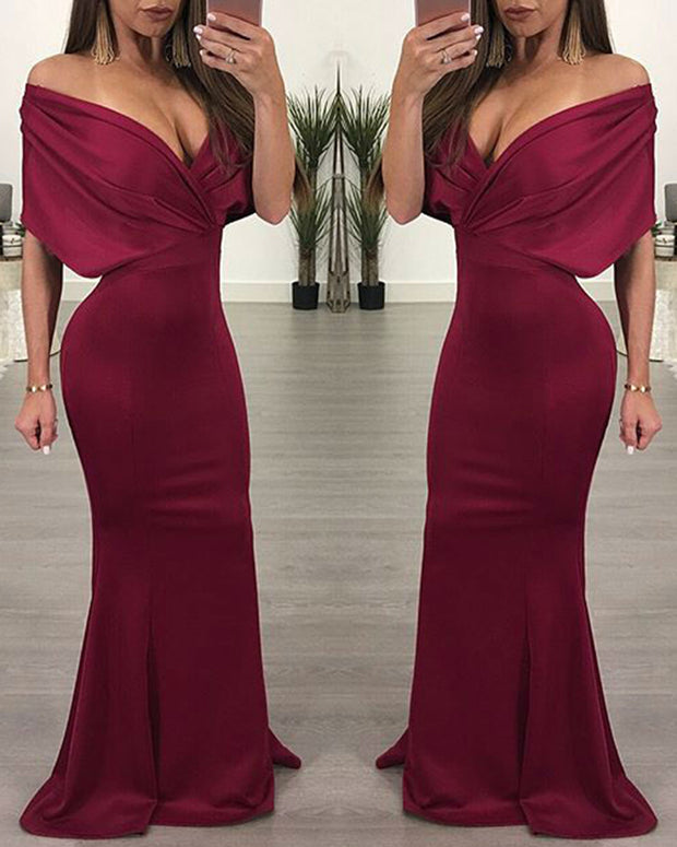 Off Shoulder Deep V Solid Fishtail Dress - Girlsintrendy, Girls In Trendy