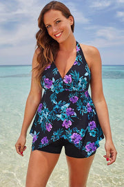 PLUS SIZE FLORAL HALTER V NECK BOYSHORTS TANKINI - Girlsintrendy, Girls In Trendy