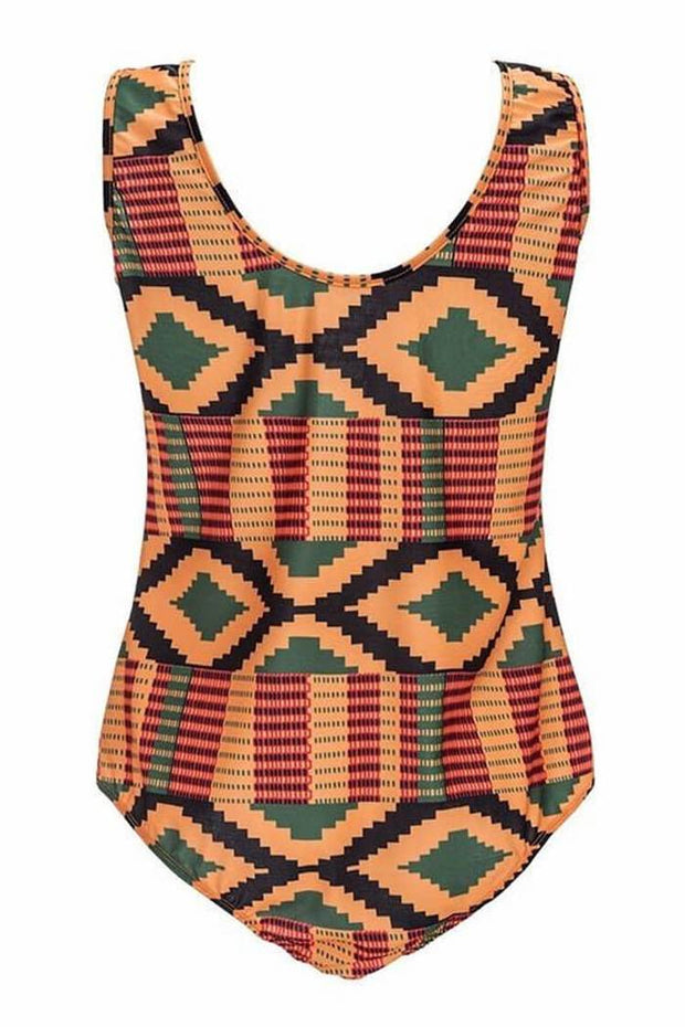 African Crisscross Strappy Front Ethnic One Piece Swimsuit - Girlsintrendy, Girls In Trendy