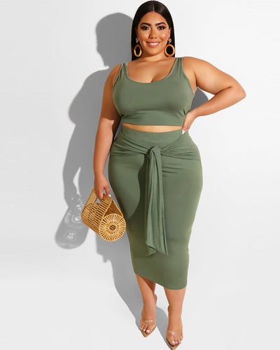 Plus Size Curvy Tied In Knot Skirt Set - Girlsintrendy, Girls In Trendy